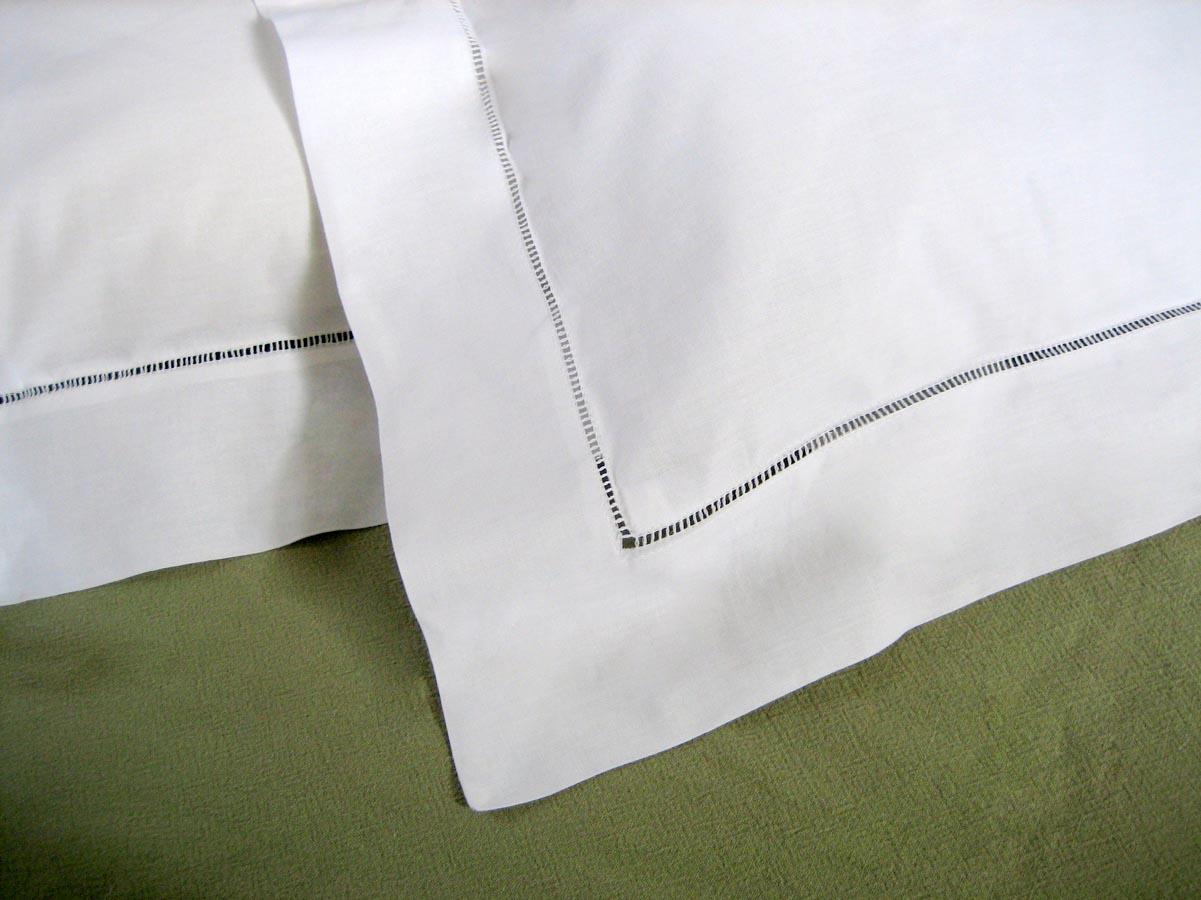 pair of white hemstitched edge euro pillow shams