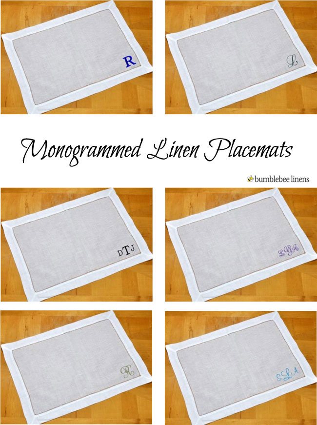 Personalized Monogrammed Linen Placemats And Tray Cloths