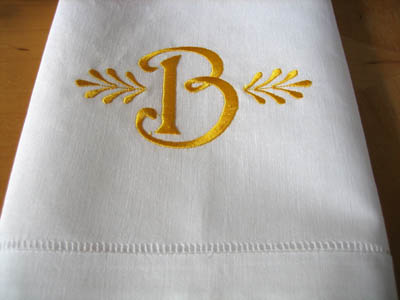 Monogrammed White Linen Hand Towel W Single Initial Font C