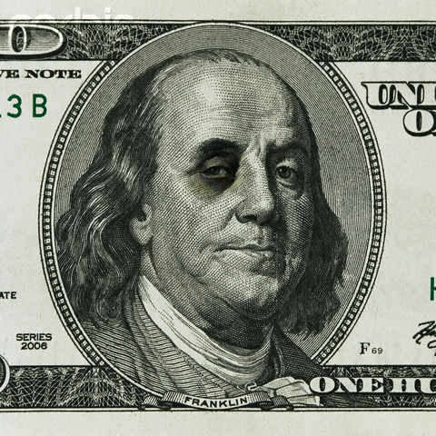 Ben Franklin with black eye --- Image by © Third Eye Images/Corbis