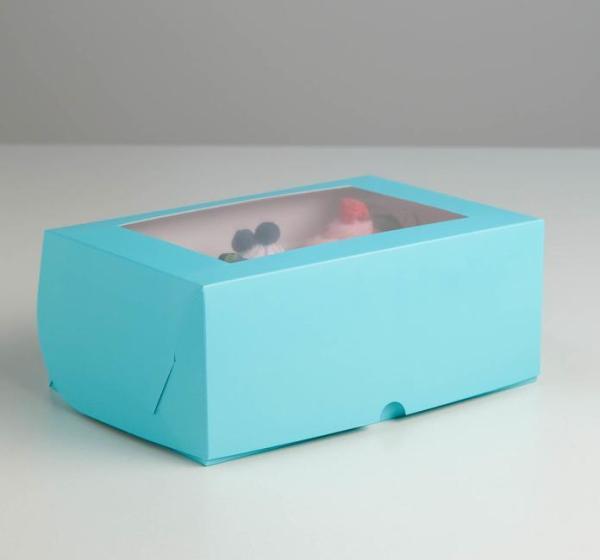 Коробка на 6 капкейков с окном, голубая