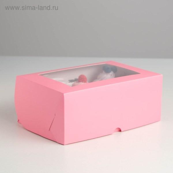 Коробка с окном, розовая
