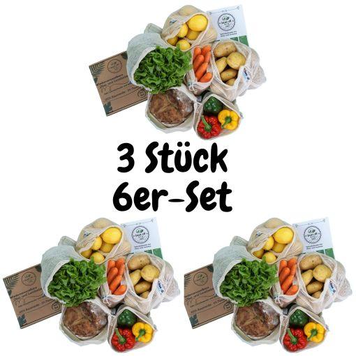 3 Stück 6er-Set Wiederverwendbare Gemüsenetze