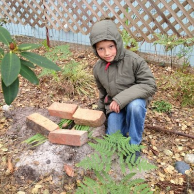 Caleb builds a squirrel trap