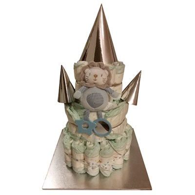 Nappy cake with lion toy