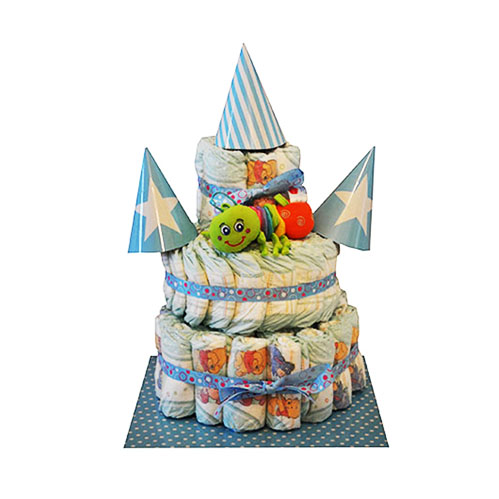 3 tier blue nappy cake with party hats