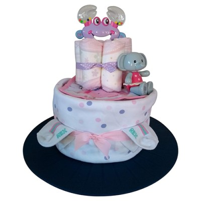 Girl nappy cake with two tiers
