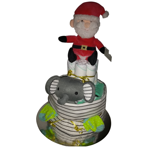 Christmas themed two tier nappy cake