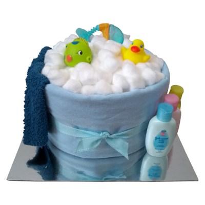 Boy splish splash nappy cake
