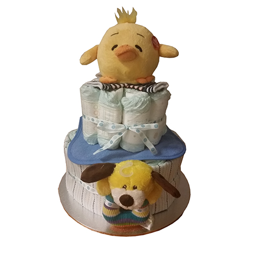 2 tier boy nappy cake