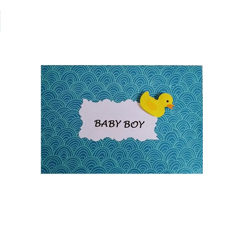Blue baby boy gift card with duck