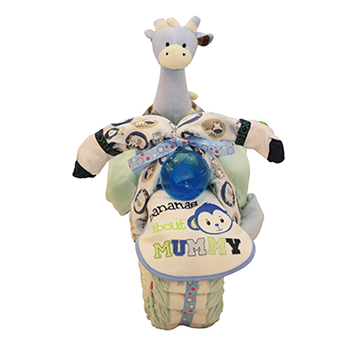Blue black and white nappy tricycle