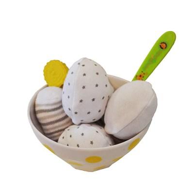 Ice cream bowl with baby socks