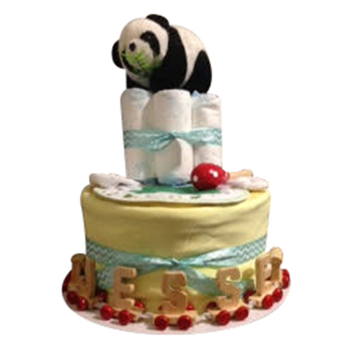 2 tier nappy cake with panda