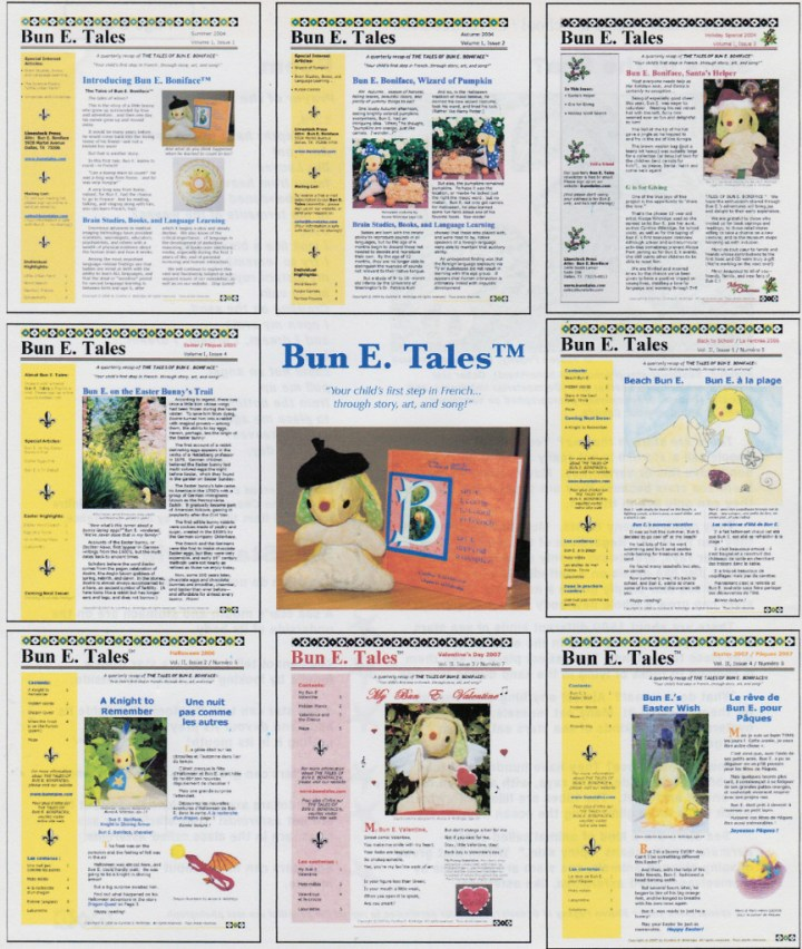Covers of past issues of Bun E. Tales™ newsletter © by Cynthia S. Wildridge