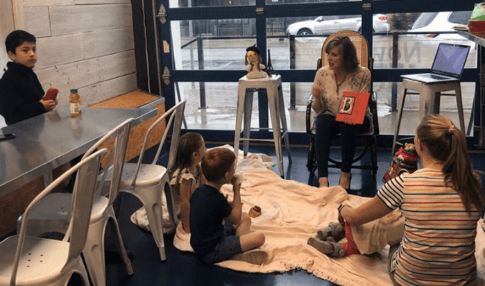 Author Cynthia Wildridge shares Bun E. Boniface and his tale with young guests at Great Harvest Bread Company's 1st Saturday Story Time in Fort Worth, TX