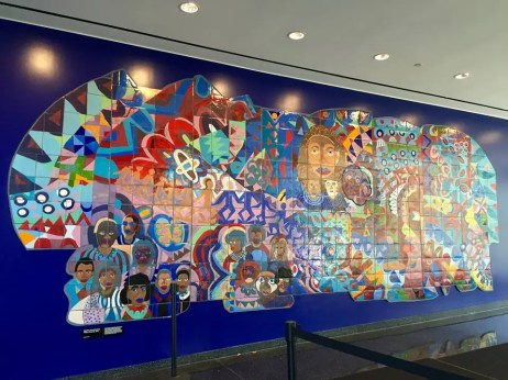 """Roxbury Rhapsody,"" on display in the Bruce C. Bolling Municipal Building in Dudley Square."