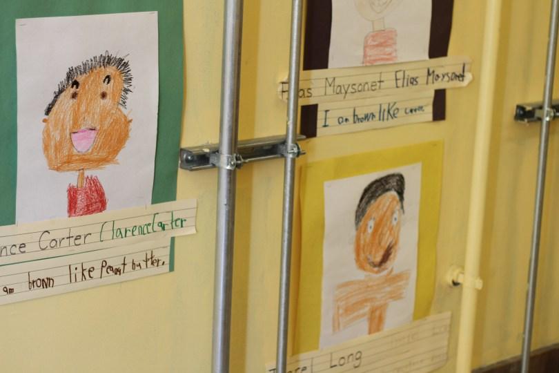 "Students create artwork based on the book ""Brown Like Me"" by Noelle Lamperti"