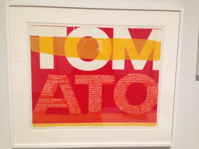 """the juiciest tomato of all, 1964"" by Corita Kent at the Harvard Museums of Art. Photo by Mariya Manzhos."