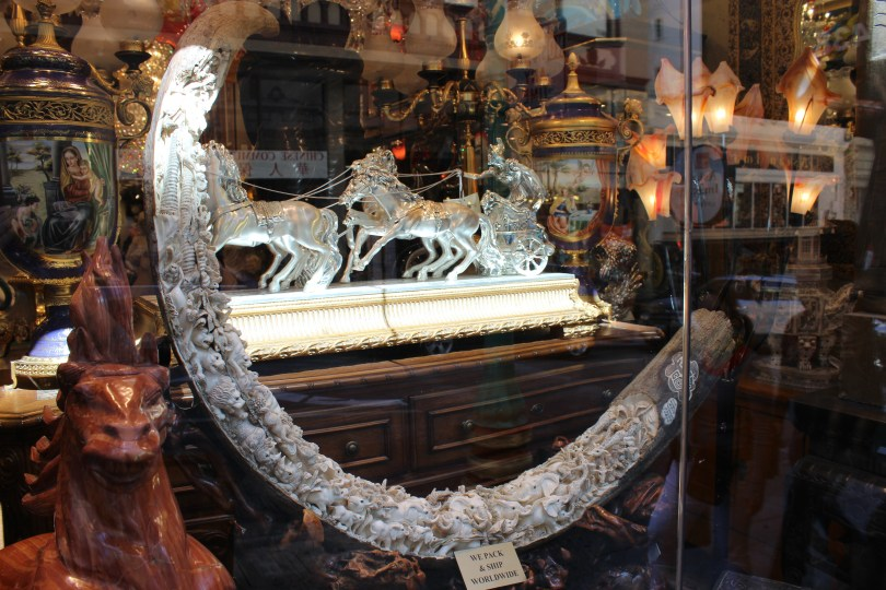 This photo of a mammoth ivory tusk was taken in San Francisco, where it is for sale at a Chinese shop. On July 1, 2016, AB 96 will make it illegal to buy or sell elephant, mammoth, hippo, walrus, narwal, mastadon, or whale ivory, with few exceptions.