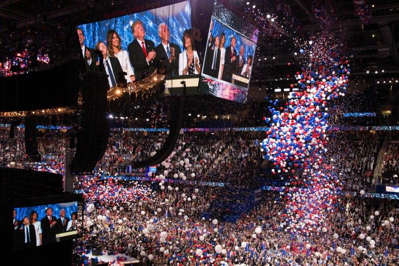 Confetti and balloons filled the Quicken Loans Arena in celebration after Donald Trump's acceptance speech. Photo by Pankaj Khadka/BUNS