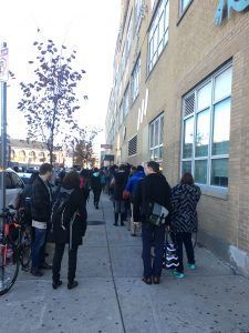 Voters lined up at Boston Arts Academy on election day. Photo by Allegra Peelor