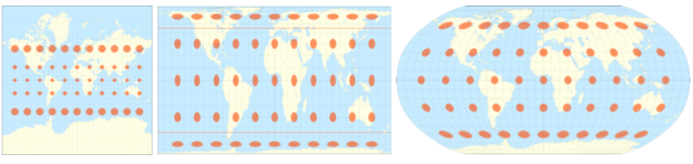 Image showing how distortion occurs in three common map projections.