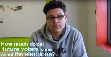 Juan Soto, 17, from Dorchester talks about how he prepares to vote on the midterms. Photo by Ina Joseph / BU News Service.