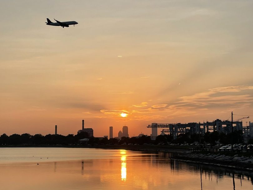 A plane lands in Boston