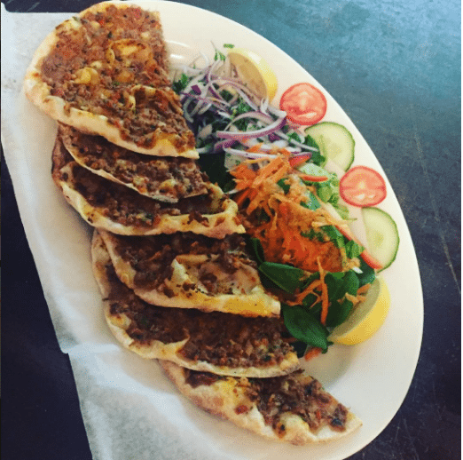 "Pictured, lahmacun or ""Turkish pizza"""
