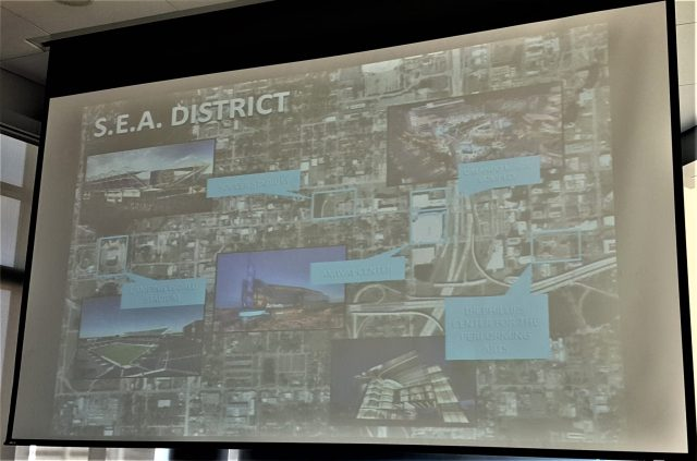 "A graphic of the defacto ""SEA District"" which stands for ""Sports, Entertainment, Arts"""