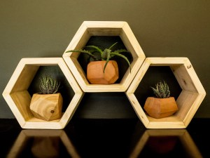 Wooden Hex Shelf