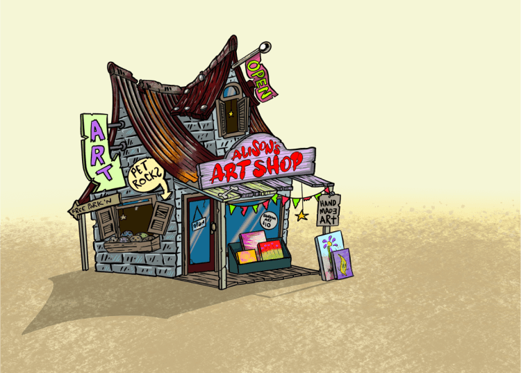 Illustration of art shop in desert