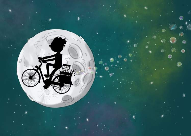 illustration of bike flying over moon