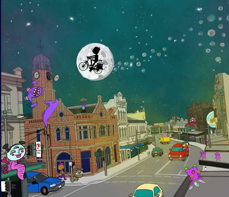 illustration of King St and bike over moon