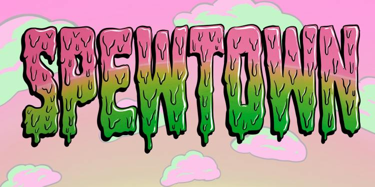 illustration of the word spewtown in green and pink goo