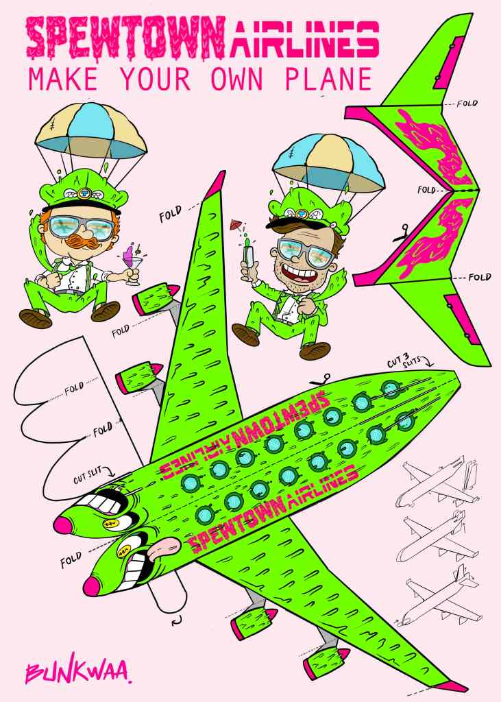 illustration of green airplane cartoon on pink background