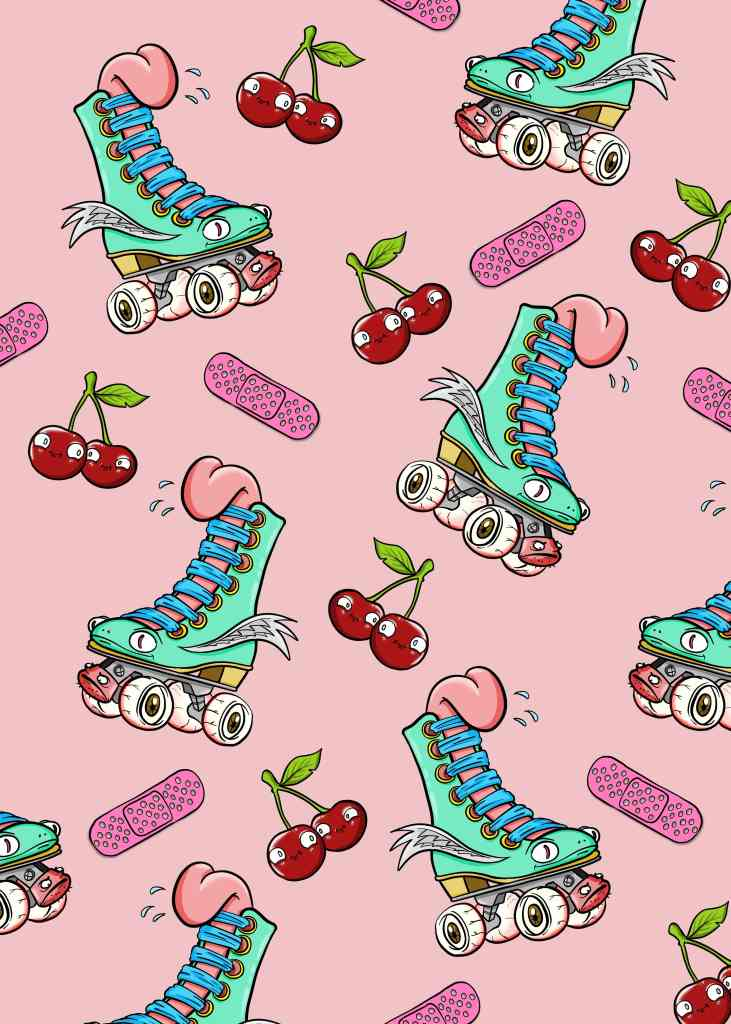 drawing of roller skates and cherries on pink background