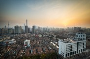 A wonderful morning waking up with a beautiful sunrise in the Laoximen District in Shnaghai, China