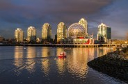 Sunset lights at False Creek give a nice tint of orange against the lovely blue sky. What a great evening walk. Are you ready for another great sunset?