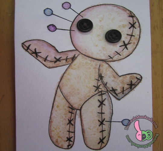 Watercolor Voodoo Doll Cards