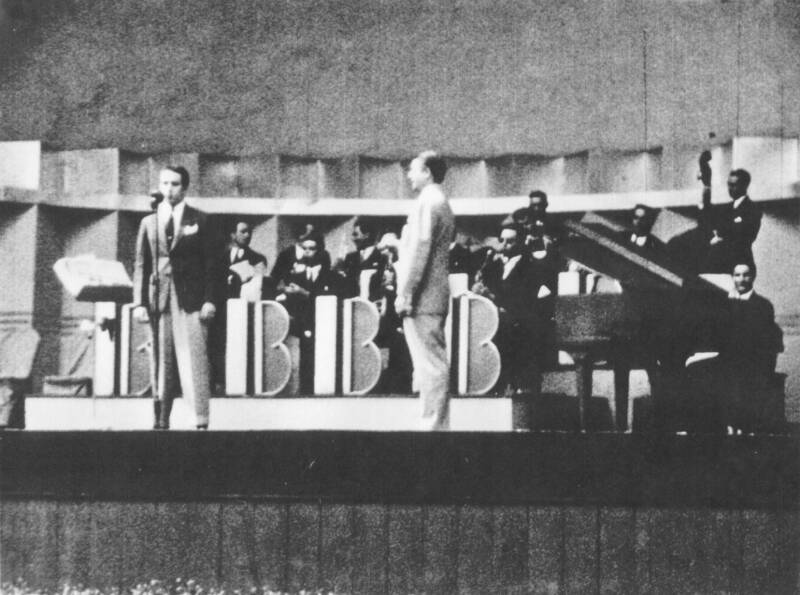 Berigan's best male vocalist was Danny Richards, shown here onstage with the Berigan band at Eastwood Gardens, Detroit, MI; June, 1939.