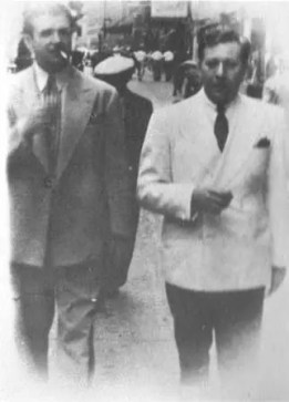 Berigan and drummer George Wettling stroll along the sidewalks of New York, summer, 1937. Wettling was the first great drummer to drive the Berigan band. Others who followed included Dave Tough, Johnny Blowers, Buddy Rich, and Jack Sperling.
