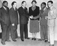 A publicity photo from August, 1940 promoting a school for underprivileged children in New York City. L-R: trombonist/arranger Fred Norman; Berigan; Tommy Dorsey, Eleanor Roosevelt; Lionel Hampton; and Frank Sinatra.