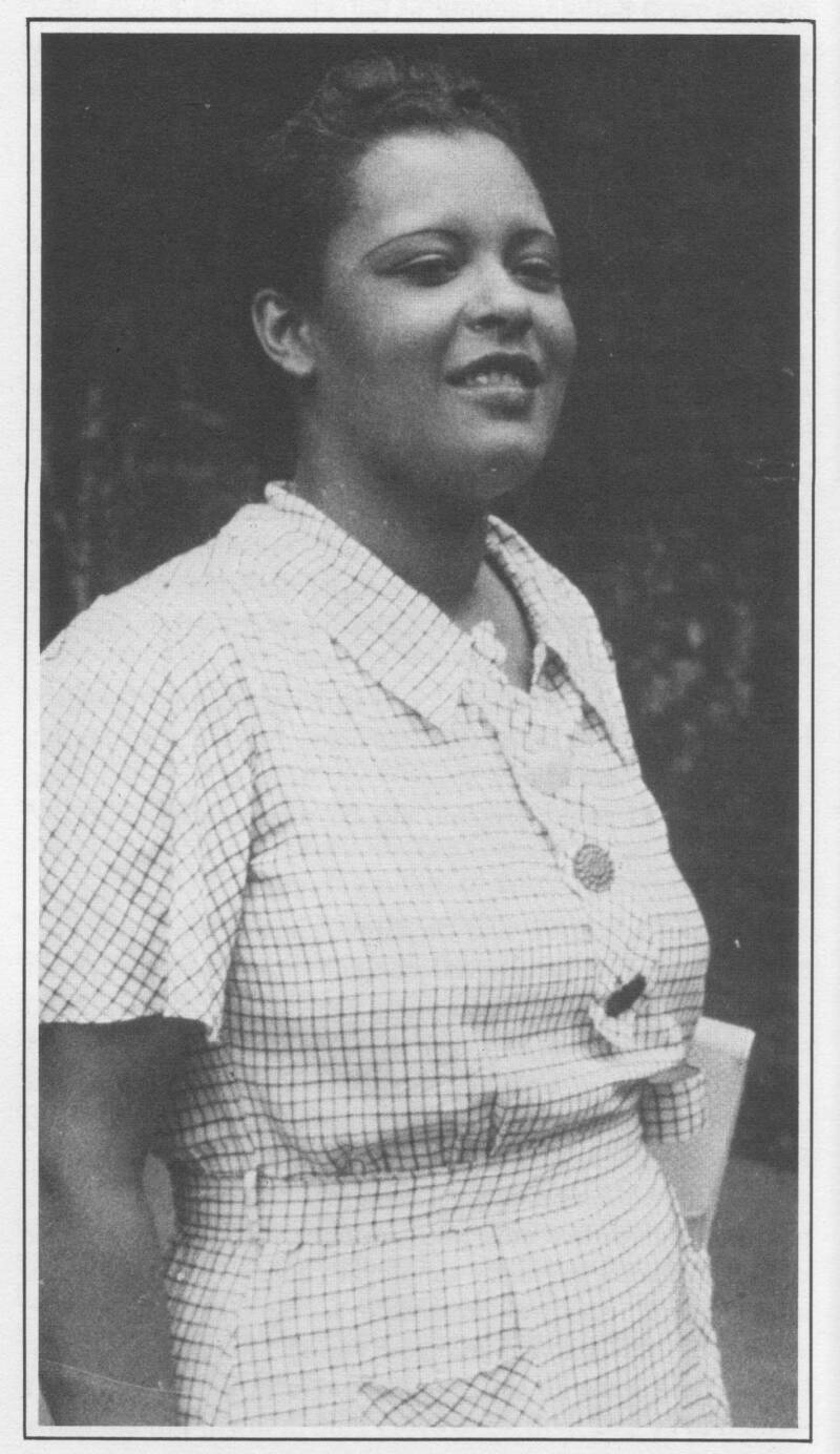 Billie Holiday in 1936. Berigan backed Billie on the first recordings where her name was printed on the record label. She, like many other vocalists, greatly appreciated Bunny's sensitive support.