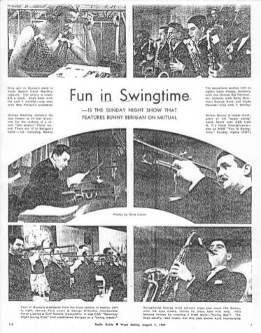 "Magazine feature on the new Berigan band, summer, 1937, explores Bunny's radio show ""Fun in Swingtime,"" which was presented on the Mutual Broadcasting System."