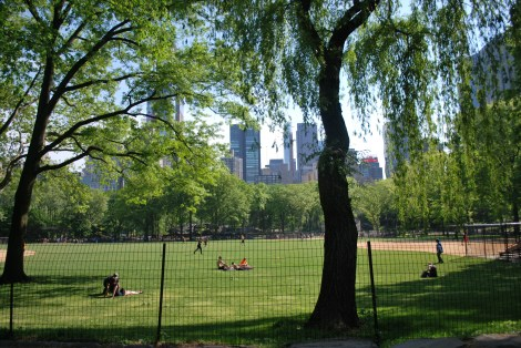 The softball fields near the southwest corner of Manhattan's Central Park as they look today. They have changed little since the swing era, when musicians from many bands played softball games there. In the summer of 1940, Berigan surprised the members of the Tommy Dorsey softball team with his athletic prowess.