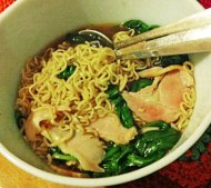 budget bacon, noodle and spinach
