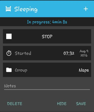 The sleep timer: Start/Stop/Save