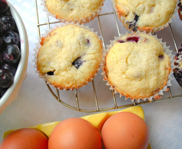 Cream Cheese Blueberry Muffins with Lemon Glaze
